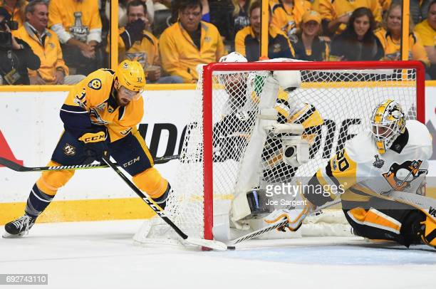 Frederick Gaudreau of the Nashville Predators scores a goal on goaltender Matt Murray of the Pittsburgh Penguins during the second period of Game...