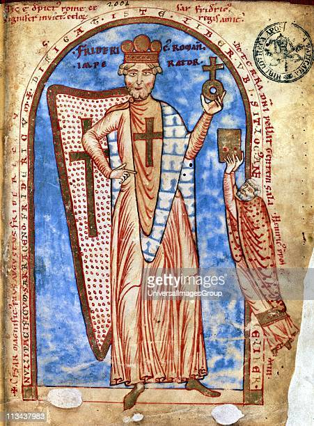 Frederick I c11231190 Holy Roman emperor from 1152 Miniature from Robert de Saint Remy 'History of the Third Crusade' Vatican Library