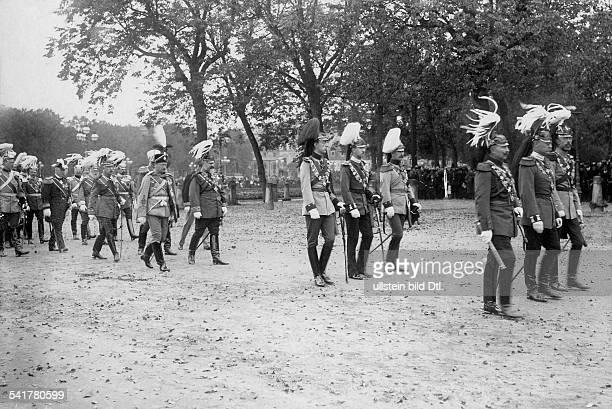 Frederick I Grand Duke of Baden*09091826Grand Duke of Baden 18561907funeral procession 1st row from left Wilhelm II German Emperor Photographer Kuehn...