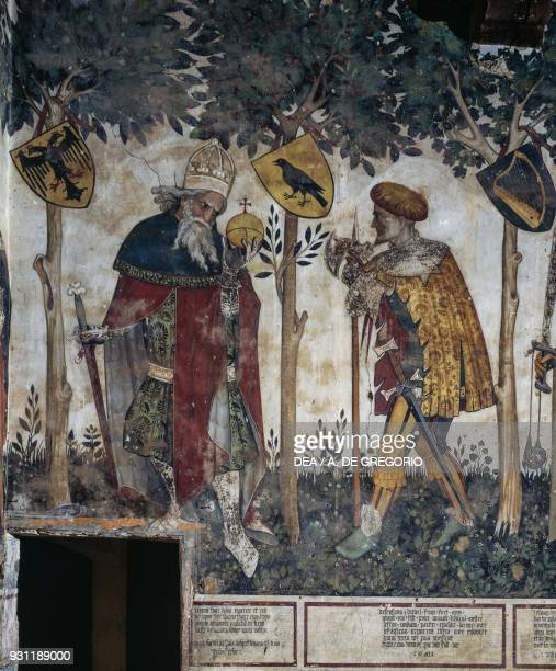Frederick II depicted as Julius Caesar and Thomas II depicted as Joshua detail from the Heroes and Heroines cycle fresco in the Baronial Hall of the...
