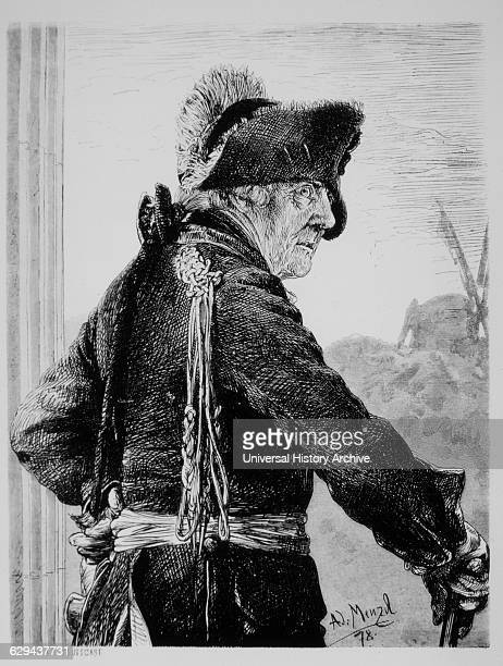 Frederick II Frederick the Great King of Prussia Portrait Engraving by AJ Menzel 1878