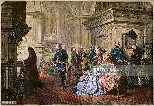 Frederick II the Great King of Prussia listening to Johann Sebastian Bach at the organ Sanssouci after painting by Hermann Kaulbach 1876 engraving...