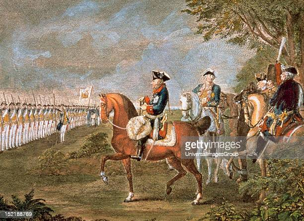 Frederick II the Great King of Prussia PARADE OF TROOPS BEFORE FEDERICO II Engraving by CHODOWIECKI Daniel