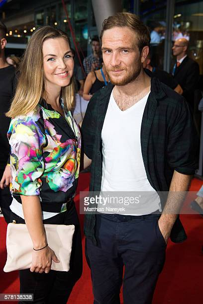 Frederick Lau and his wife Annika attend the premiere of the film 'PETS' at CineStar on July 20 2016 in Berlin Germany