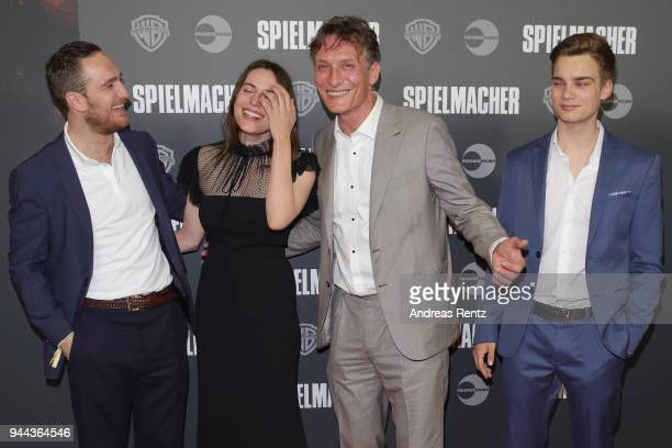 Frederick Lau, Antje Traue, Oliver Masucci and Mateo Wansing Lorrio attend 'Spielmacher' Premiere at Lichtburg on April 10, 2018 in Essen, Germany.