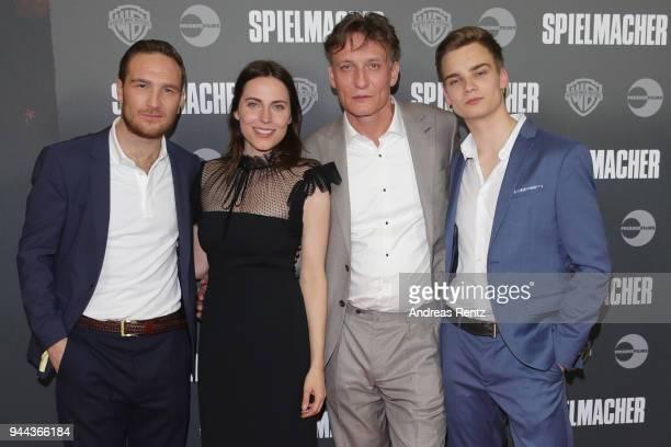Frederick Lau Antje Traue Oliver Masucci and Mateo Wansing Lorrio attend 'Spielmacher' Premiere at Lichtburg on April 10 2018 in Essen Germany