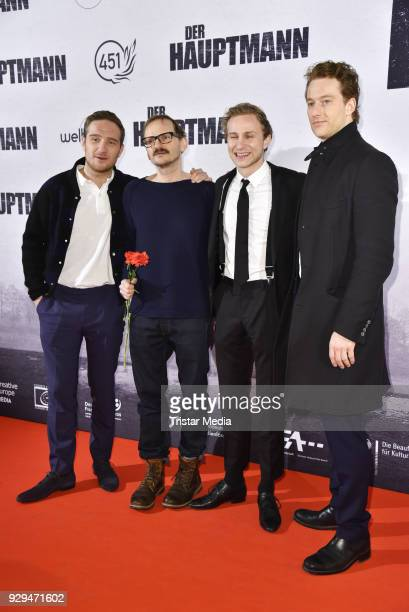 Frederick Lau Milan Peschel Max Hubacher and Alexander Fehling attend the premiere of 'Der Hauptmann' at Kino International on March 8 2018 in Berlin...