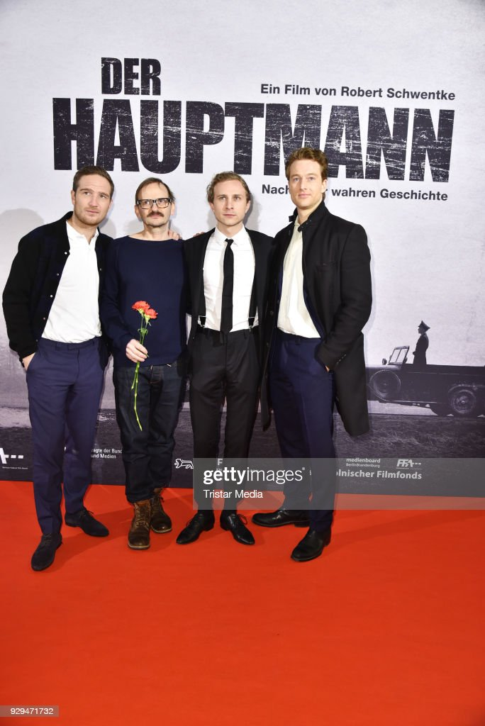 Frederick Lau, Milan Peschel, Max Hubacher and Alexander Fehling attend the premiere of 'Der Hauptmann' at Kino International on March 8, 2018 in Berlin, Germany.