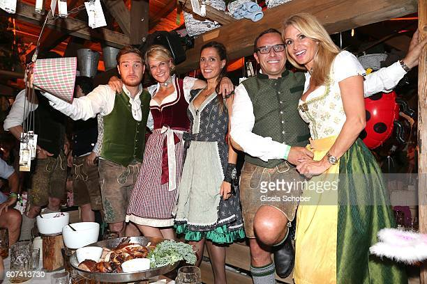 Frederick Lau, Natascha Gruen, Conny Lehmann, Christian Abt and his wife Sandra Abt during the opening of the oktoberfest 2016 at the...