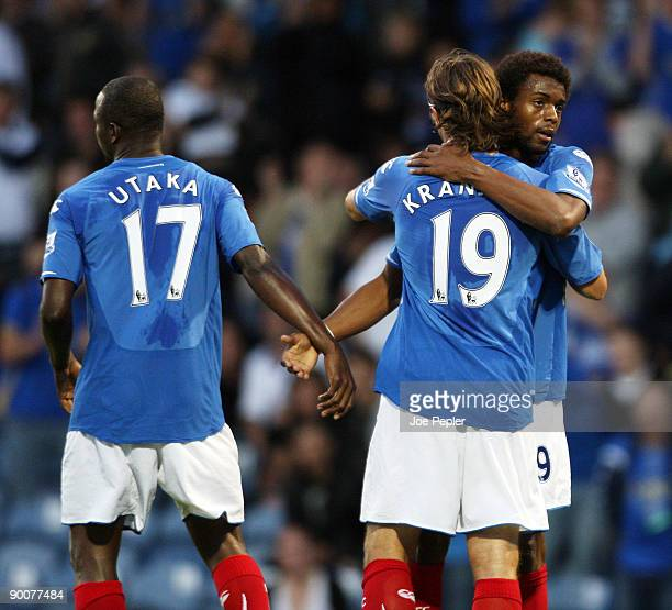 Frederick Piquionne of Portsmouth celebrates scoring the opening goal of the match during the Carling Cup 2nd Round match between Portsmouth and...
