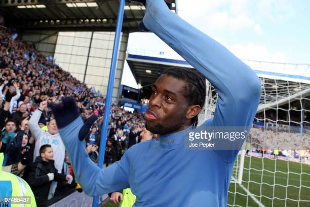 Frederick Piquionne of Portsmouth celebrates win after the FA Cup sponsored by EON 6th Round match between Portsmouth and Birmingham City at Fratton...