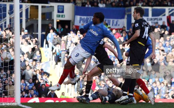 Frederick Piquionne of Portsmouth scores opening goal against Birmingham City during the FA Cup sponsored by EON 6th Round match between Portsmouth...