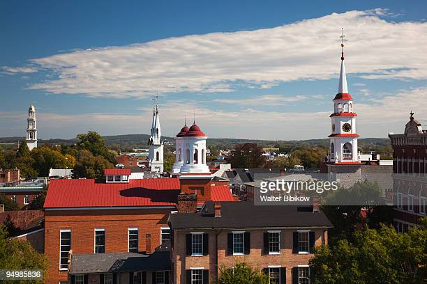 frederick, town churches from city hall - frederick - fotografias e filmes do acervo