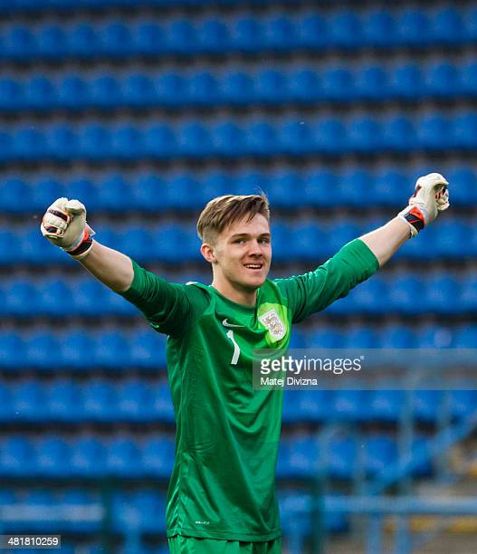 Frederick Woodman of England celebrates after the UEFA U17 Championship Qualifier Elite Round match between Italy and England on March 31 2014 in...