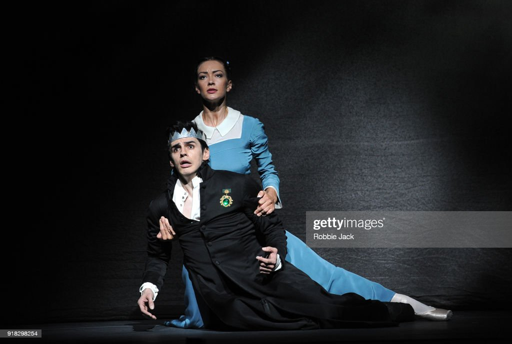 Frederico Bonelli as Leontes and Tierney Heap as Paulina in the Royal Ballet's production of Christopher Wheeldon's The Winter's Tale at the Royal Opera House on February 12, 2018 in London, England.