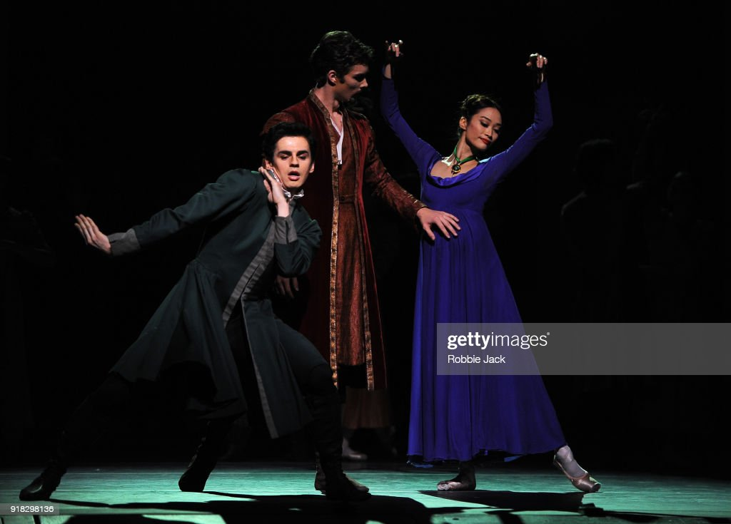 Frederico Bonelli as Leontes, Lukas Bjorneboe Braendsrod as Polixenes and Fumi Kaneko as Hermione in the Royal Ballet's production of Christopher Wheeldon's The Winter's Tale at the Royal Opera House on February 12, 2018 in London, England.