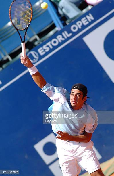 Frederico Gil in action against Dmitry Tursunov during their second round match in the 2006 Estoril Open at the Estadio Nacional in Estoril Portugal...
