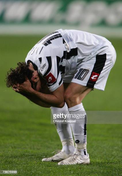 Frederico Insua of Monchengladbach looks disappointed after losing 01 the Bundesliga match between Bayer Leverkusen and Borussia Monchengladbach at...