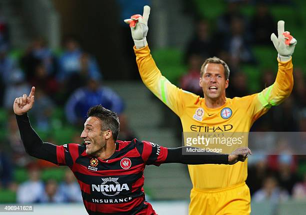 Frederico Piovaccari of the Wanderers celebrates a goal as Goal Keeper Thomas Sorensen of the City calls for offside during the round six ALeague...