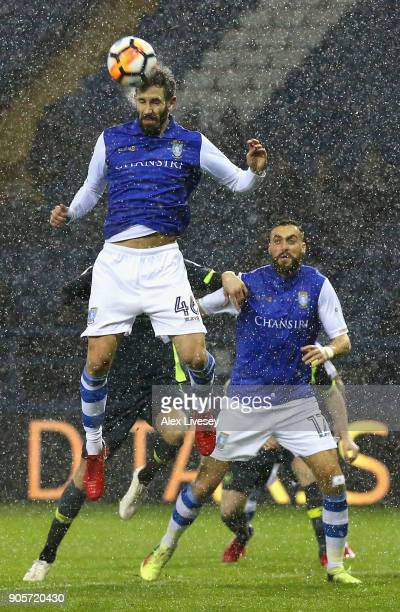 Frederico Venâncio of Sheffield Wednesday wins a header during The Emirates FA Cup Third Round Replay match between Sheffield Wednesday and Carlisle...