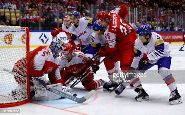 Frederik Andersen , goaltender of Denmark tends net against Korea the 2018 IIHF Ice Hockey World Championship Group B game between Denmark and Korea...