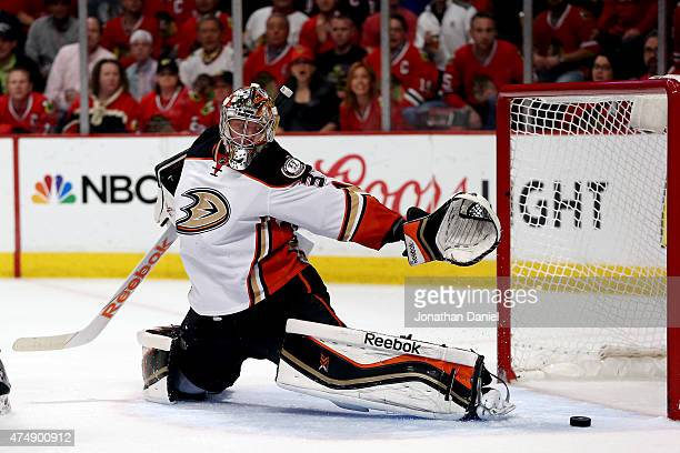 Frederik Andersen of the Anaheim Ducks lets in a goal in the second period by Marian Hossa of the Chicago Blackhawks in Game Six of the Western...