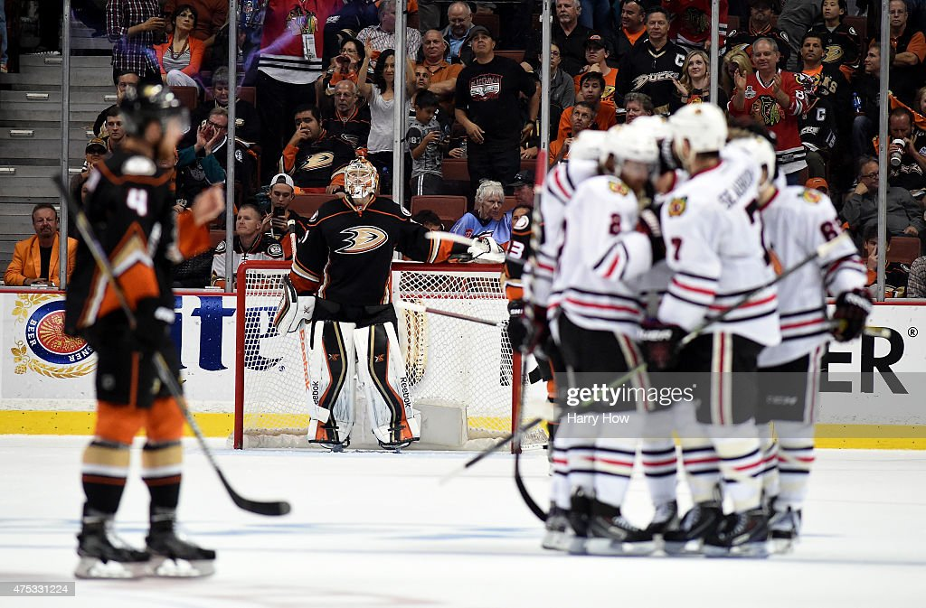 Frederik Andersen #31 of the Anaheim Ducks looks up after allowing a third period goal to Brent Seabrook #7 of the Chicago Blackhawks as he celebrates with teammates in Game Seven of the Western Conference Finals during the 2015 NHL Stanley Cup Playoffs at the Honda Center on May 30, 2015 in Anaheim, California.