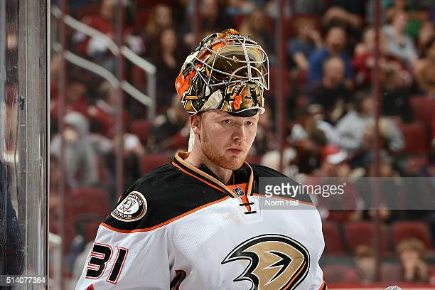 Frederik Andersen of the Anaheim Ducks prepares for a game against the Arizona Coyotes at Gila River Arena on March 3 2016 in Glendale Arizona