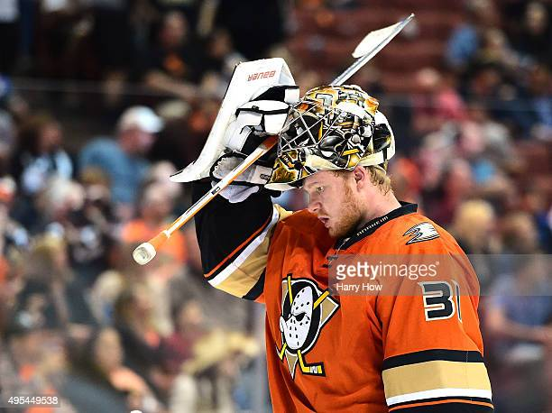Frederik Andersen of the Anaheim Ducks returns to the net with a lead against the Nashville Predators at Honda Center on November 1 2015 in Anaheim...