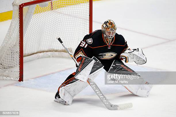 Frederik Andersen of the Anaheim Ducks tends net during the third period of a game against the Ottawa Senators at Honda Center on January 13 2016 in...
