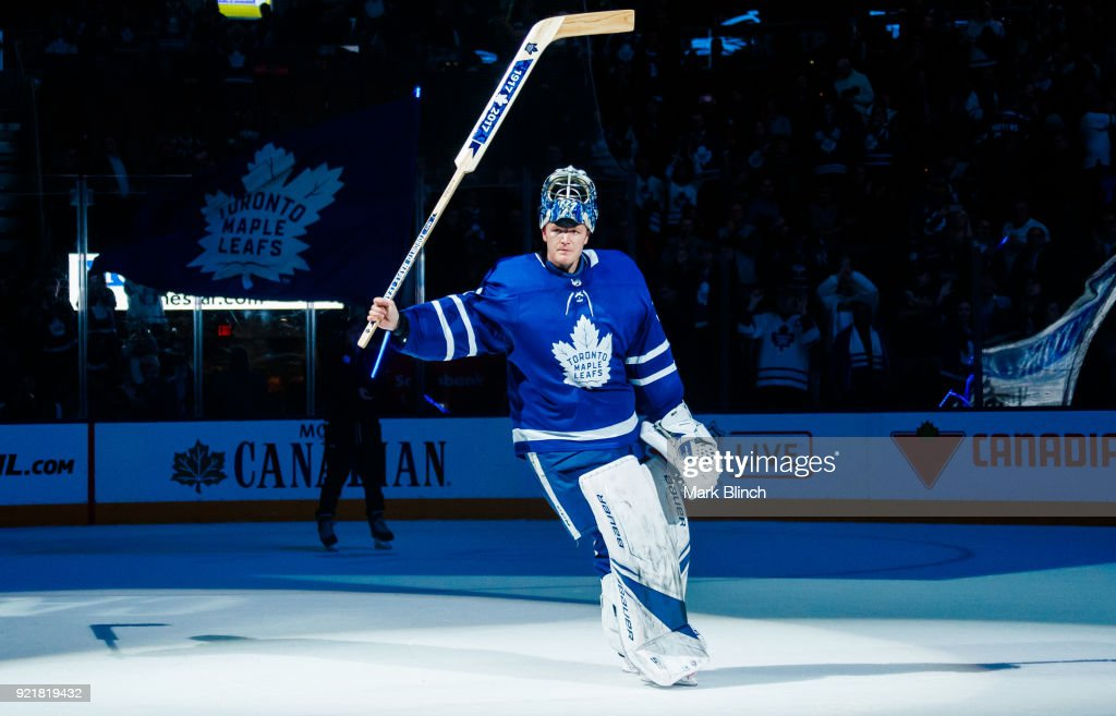 Frederik Andersen #31 of the Toronto Maple Leafs acknowledges fans after being named the game's first star after the Leafs defeated the Florida Panthers at the Air Canada Centre on February 20, 2018 in Toronto, Ontario, Canada.