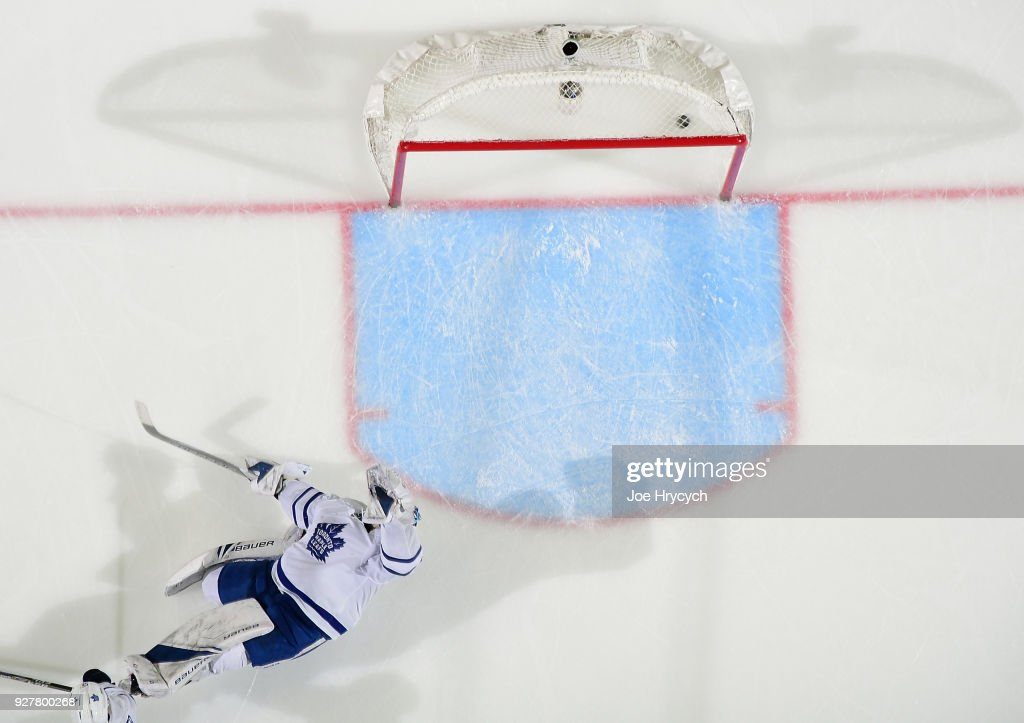 Frederik Andersen #31 of the Toronto Maple Leafs allows a third period goal by Johan Larsson (not pictured) during an NHL game on March 5, 2018 at KeyBank Center in Buffalo, New York. Buffalo won, 5-3.