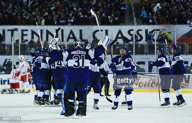 7ce60aa85 Frederik Andersen of the Toronto Maple Leafs celebrates victory during the  2017 Scotiabank NHL Centennial Classic