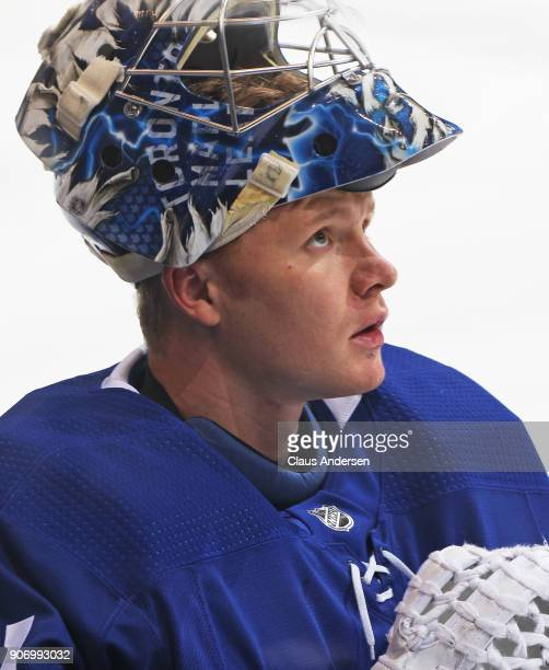 Frederik Andersen of the Toronto Maple Leafs checks the clock during warmup prior to playing against the StLouis Blues in an NHL game at the Air...