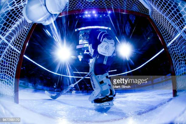 Frederik Andersen of the Toronto Maple Leafs cleans his crease in Game Three of the Eastern Conference First Round against the Boston Bruins during...