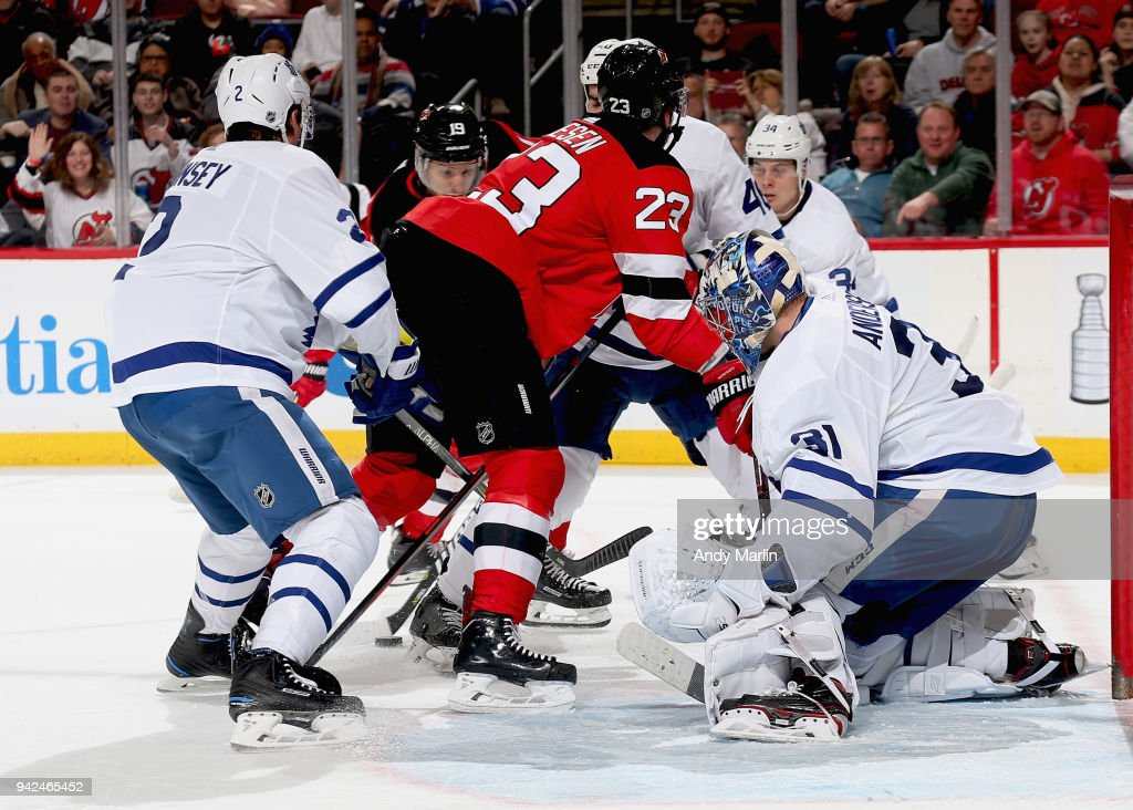 Frederik Andersen #31 of the Toronto Maple Leafs defends his net during the game against the New Jersey Devils at Prudential Center on April 5, 2018 in Newark, New Jersey.