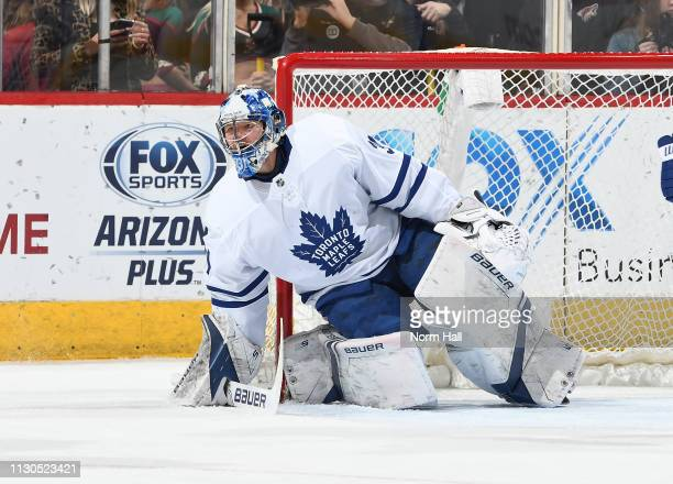 Frederik Andersen of the Toronto Maple Leafs gets ready to make a save against the Arizona Coyotes at Gila River Arena on February 16 2019 in...