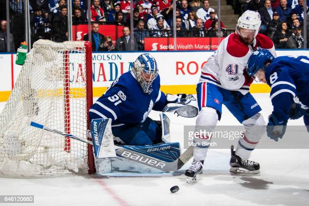 Frederik Andersen of the Toronto Maple Leafs guards the net against Greg Pateryn of the Montreal Canadiens during the second period at the Air Canada...