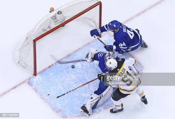Frederik Andersen of the Toronto Maple Leafs makes a huge save on Rick Nash of the Boston Bruins in Game Six of the Eastern Conference First Round in...