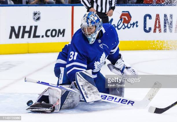 Frederik Andersen of the Toronto Maple Leafs makes a save against the Boston Bruins during the third period during Game Four of the Eastern...