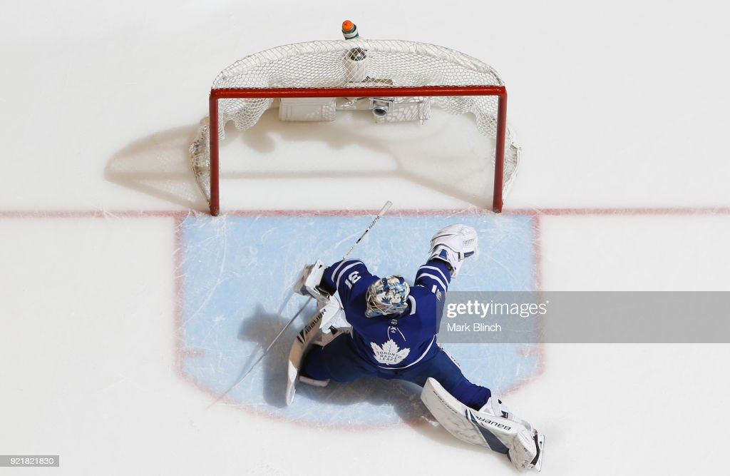 Frederik Andersen #31 of the Toronto Maple Leafs makes a save against the Florida Panthers during the second period at the Air Canada Centre on February 20, 2018 in Toronto, Ontario, Canada.
