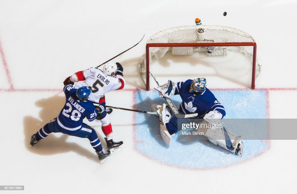 Frederik Andersen #31 of the Toronto Maple Leafs makes a save on Aaron Ekblad #5 of the Florida Panthers as William Nylander #29 of the Toronto Maple Leafs defends during the second period at the Air Canada Centre on February 20, 2018 in Toronto, Ontario, Canada.
