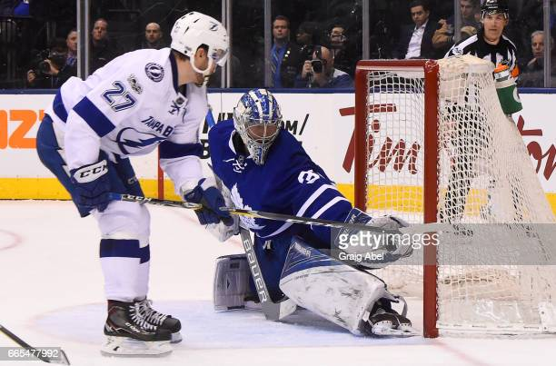 Frederik Andersen of the Toronto Maple Leafs makes a save on Jonathan Drouin of the Tampa Bay Lightning during the second period at the Air Canada...