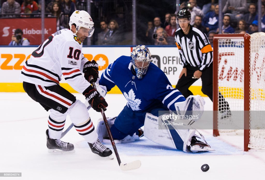 Frederik Andersen #31 of the Toronto Maple Leafs makes a save on Patrick Sharp #10 of the Chicago Blackhawks during the first period October 9, 2017 at the Air Canada Centre in Toronto, Ontario, Canada.