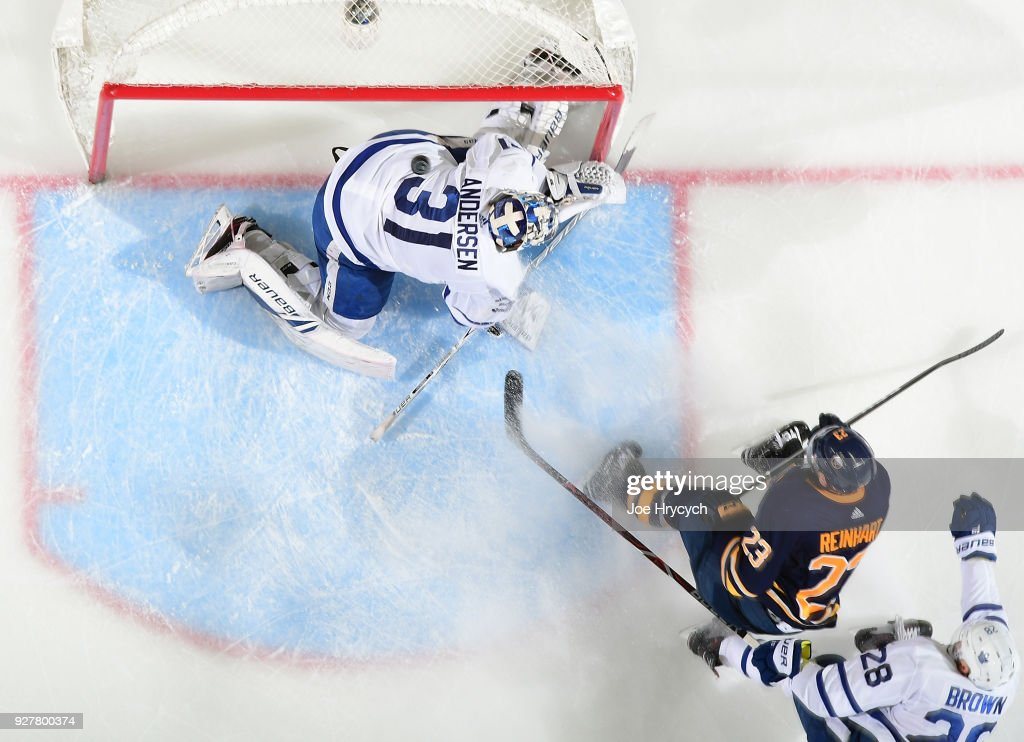 Frederik Andersen #31 of the Toronto Maple Leafs makes a third period save against Sam Reinhart #23 of the Buffalo Sabres during an NHL game on March 5, 2018 at KeyBank Center in Buffalo, New York. Buffalo won, 5-3.