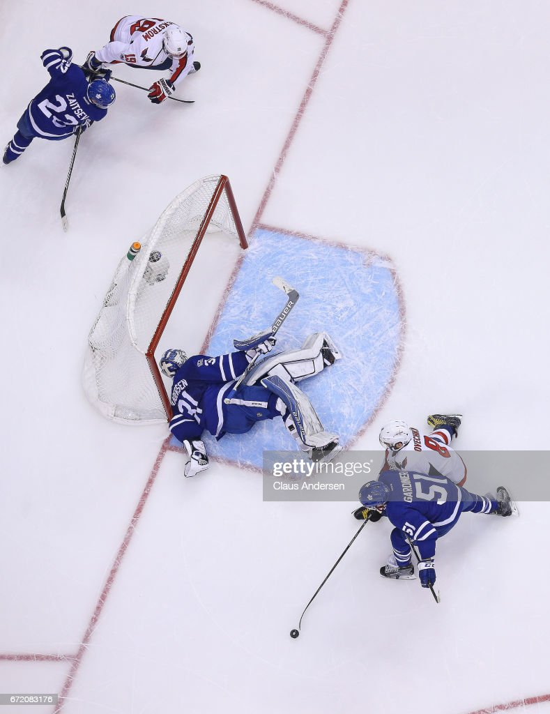 Frederik Andersen #31 of the Toronto Maple Leafs makes an awkward save against the Washington Capitals in Game Six of the Eastern Conference Quarterfinals during the 2017 NHL Stanley Cup Playoffs at the Air Canada Centre on April 23, 2017 in Toronto, Ontario, Canada. The Capitals defeated the Maple Leafs 2-1 in overtime to win series 4-2.
