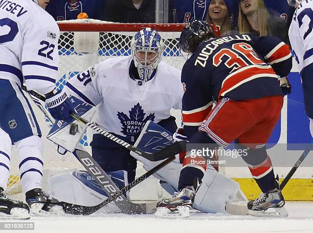 Frederik Andersen of the Toronto Maple Leafs makes the blocker save on Mats Zuccarello of the New York Rangers during the third period at Madison...