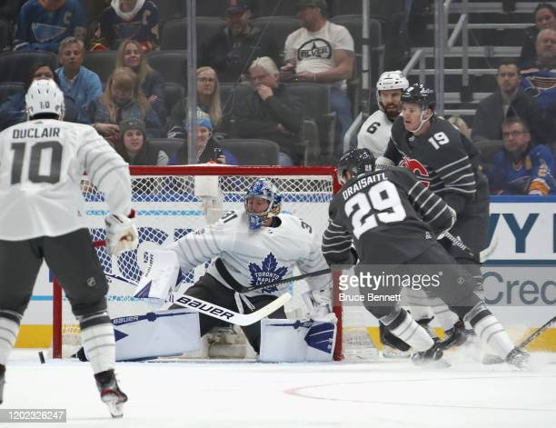 Frederik Andersen of the Toronto Maple Leafs plays in the game between the Pacific Division and Atlantic Division during the 2020 Honda NHL AllStar...