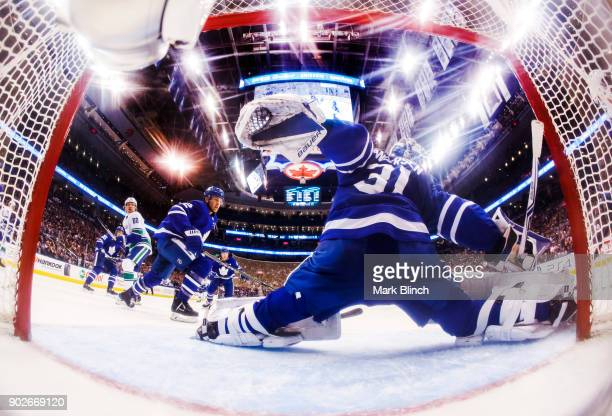 Frederik Andersen of the Toronto Maple Leafs protects the net against the Vancouver Canucks during the second period at the Air Canada Centre on...