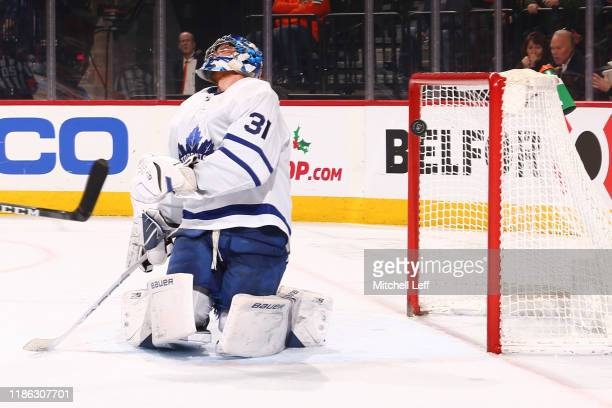 Frederik Andersen of the Toronto Maple Leafs reacts after allowing a goal to Travis Konecny of the Philadelphia Flyers in the third period at the...